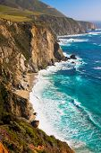image of bixby  - Beautiful Coastline  along the Mountains in Big Sur - JPG