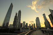 Lujiazui Finance & City Offices Buildings Sunset Landscape In Shanghai