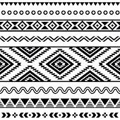 Tribal seamless pattern, aztec black and white background