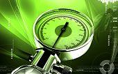 pic of bp  - Digital illustration of sphygmomanometer in colour background - JPG