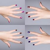 collage of latest manicure trends on acrylic nails of a young Caucasian woman. close-up of the hand
