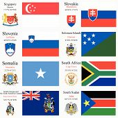 picture of north sudan  - world flags of Singapore Slovakia Slovenia Solomon Islands Somalia South Africa South Georgia and the South Sandwich Islands and Sudan with capitals geographic coordinates and coat of arms vector art illustration - JPG