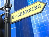 Education Concept. E-Learning Roadsign.