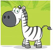 Zebra Cartoon Mascot Character With Background