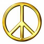 3D golden Friedenszeichen