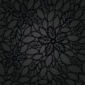 Seamless black leaves and flowers lace wallpaper pattern. This image is a vector illustration.