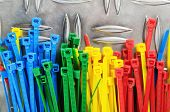 Set Colored Cable Ties, Close Up