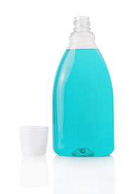 pic of plastic bottle  - Mouthwash bottle isolated on a white background - JPG