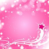 Vector flying Star with light pink christmas background