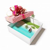 beautiful tropical beach in the gift box (creative concept)