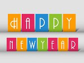 Happy New Year 2014 celebration flyer, banner, poster or invitation with colorful text on grey backg