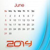 New Year 2014 June month calendar.