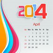New Year 2014 April month calendar.