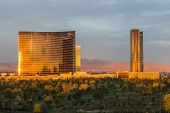 LAS VEGAS, NEVADA - Nov 28:  Dawn view of the Wynn and Encore towers at the upscale Wynn casino resort on the Las Vegas strip. The two towers total 4750 rooms on November 28, 2013 in Las Vegas Nevada.