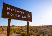 Historic route 66 road sing in Mohave Desert of California USA
