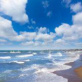 Wind surf in Denia Oliva in Valencian community Mediterranean blue sea of spain