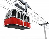 picture of ropeway  - Red Cable Car isolated on white background - JPG