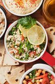 Tabbouleh, middle eastern salad with bulgur wheat, tomato and parsley