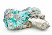 stock photo of malachite  - detailed macro photo of Malachite and Azurite mineral isolated over white - JPG