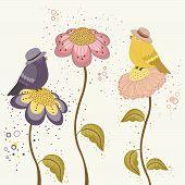 Bird On Flowers