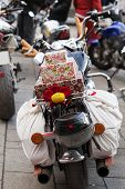 Decorated Christmas the motorcycle of Santa Claus