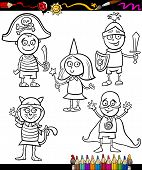 Kids In Costumes Set Coloring Page
