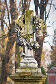 foto of crucifiction  - Cross With Crucified Jesus Christ At Cemetery - JPG