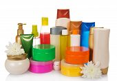 Bottles of health and beauty products care
