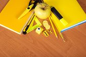 Yellow set of office tool