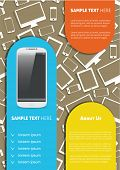 Vector  business brochure or magazine cover template with smart phone