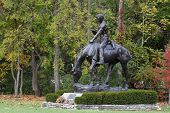 stock photo of abraham  - Statue of president Abraham Lincoln on a horse at New Salem Historic site - JPG