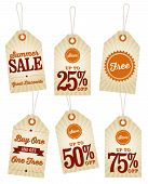 stock photo of swing  - 6 vintage swing tags with a summer sale theme - JPG