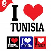 I Love Tunisia Sign And Labels