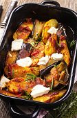 baked aubergines with potato and feta