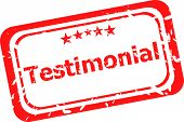 Testimonial Quality On Red Rubber Stamp Over A White Background