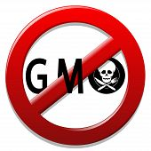 stock photo of bans  - Illustration of a sign for a ban on genetically modified organisms - JPG