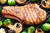 picture of brussels sprouts  - Delicious grilled pork chop with brussels sprouts - JPG