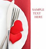 Plate, Fork, Knife And Red Hearts