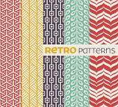 Set of vector seamless patterns in retro style.