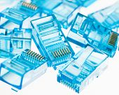 stock photo of contactor  - ethernet rj45 blue lan plugs - JPG