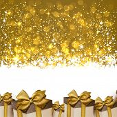 Golden winter abstract background. Christmas background with gift boxes. Vector.