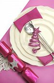 Beautiful Fuchsia Pink Festive Christmas Dining Table Place Setting With Happy Holiday Ornaments And