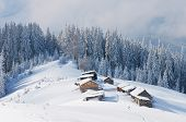 Winter landscape with the village in a mountain valley. The path to the hut on the snow. Carpathians