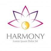 image of harmony  - Abstract Lotus Yin Yang Harmony Symbol Vector Design Element - JPG