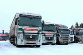 Two Renault Magnum Trucks In Winter