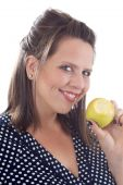 Woman Holding An Apple With A Bite Taken Out Of It; Isolated