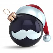 Christmas ball ornament Santa Claus hat New Year bauble black decoration