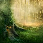 stock photo of tree leaves  - Fantasy tree house in forest - JPG