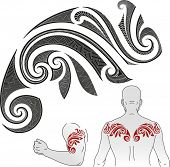 Maori styled tattoo pattern in a shape of chameleon. Good for a shoulder or an upper back. Raster illustration.