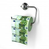 Euro devaluation. Money as toilet paper. 3d